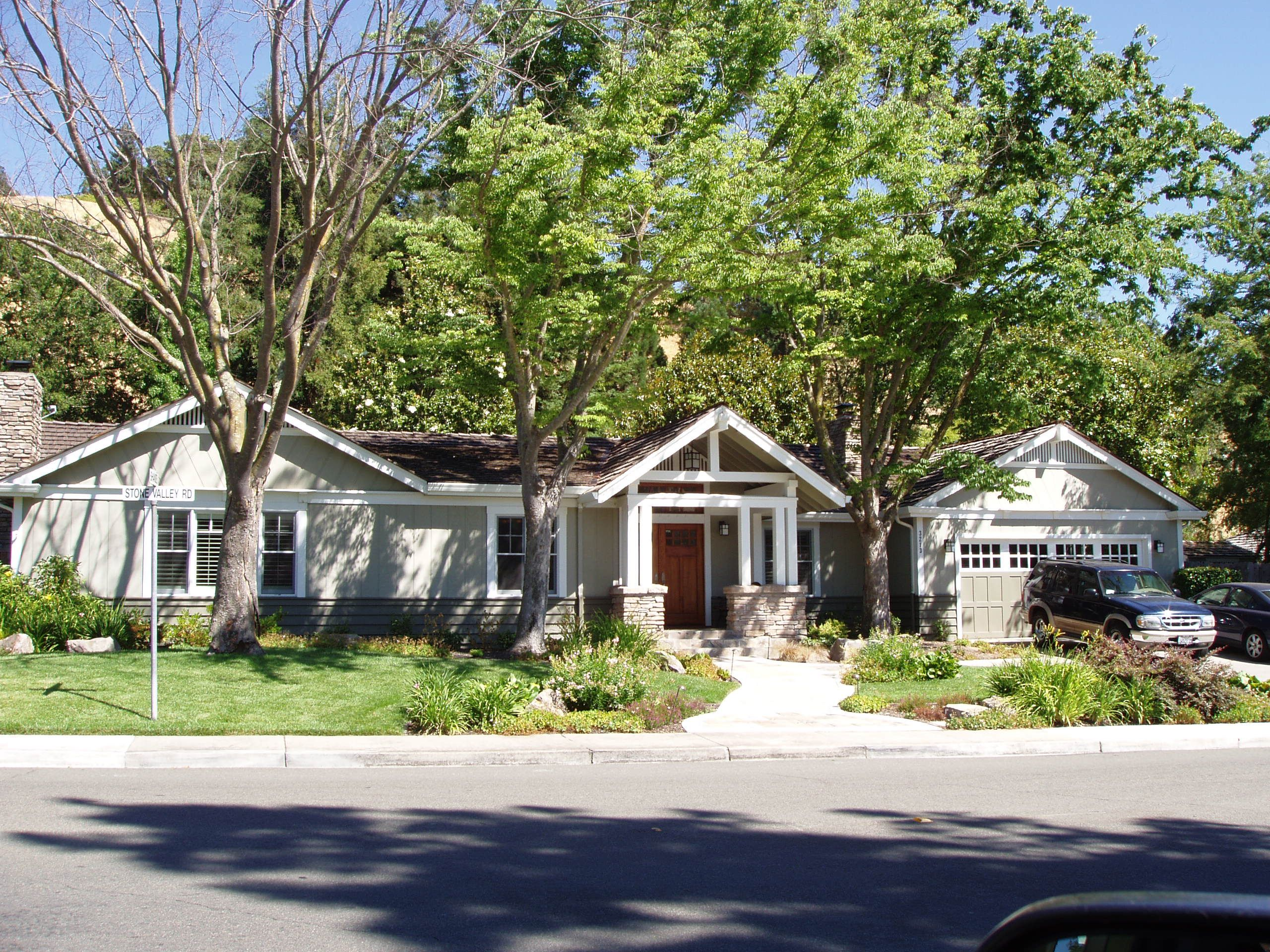 My clients Craftmans style rancher home. Love the garage doors and porch. They stayed true to the look.