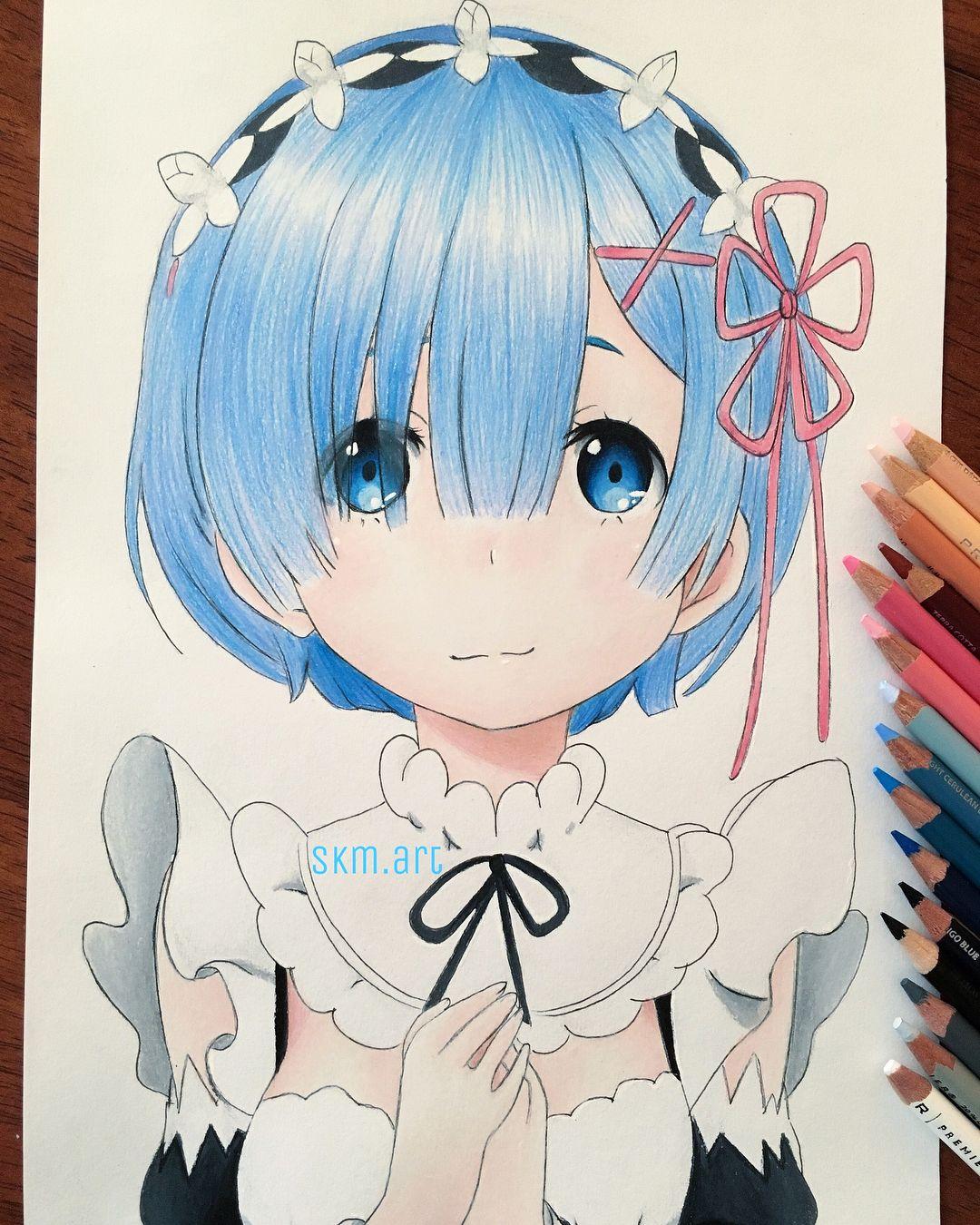 "@skm.art on Instagram: ""💙New video on my YouTube channel, Rem Speed Drawing. Link in bio💙 #rezerostartinglifeinanotherworld #drawing #pencil #pencilart…"""