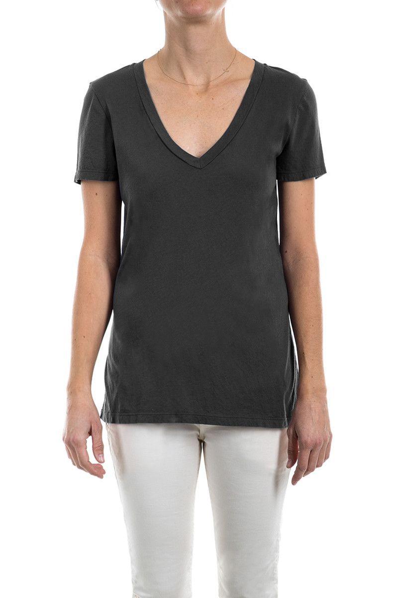 Micro Jersey Short Sleeve V-Neck Tee