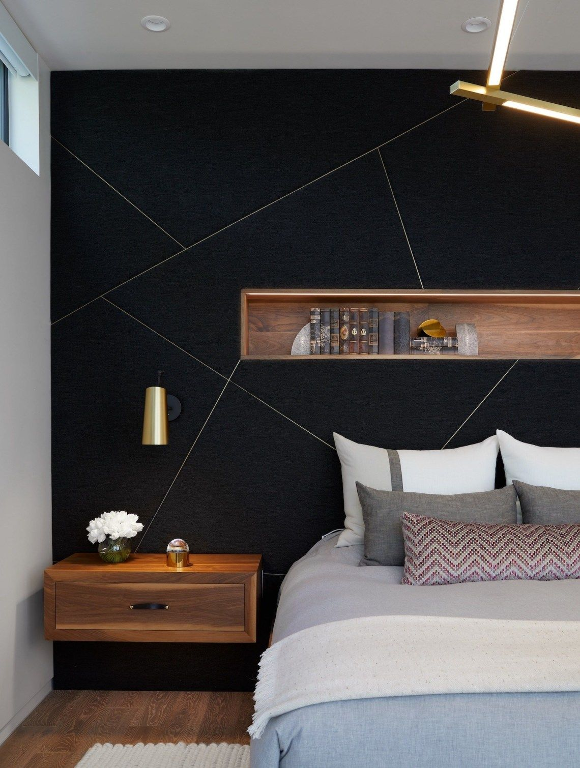 Bold Black Accent Wall Ideas Feature Wall Bedroom Bedroom Interior Wall Decor Bedroom
