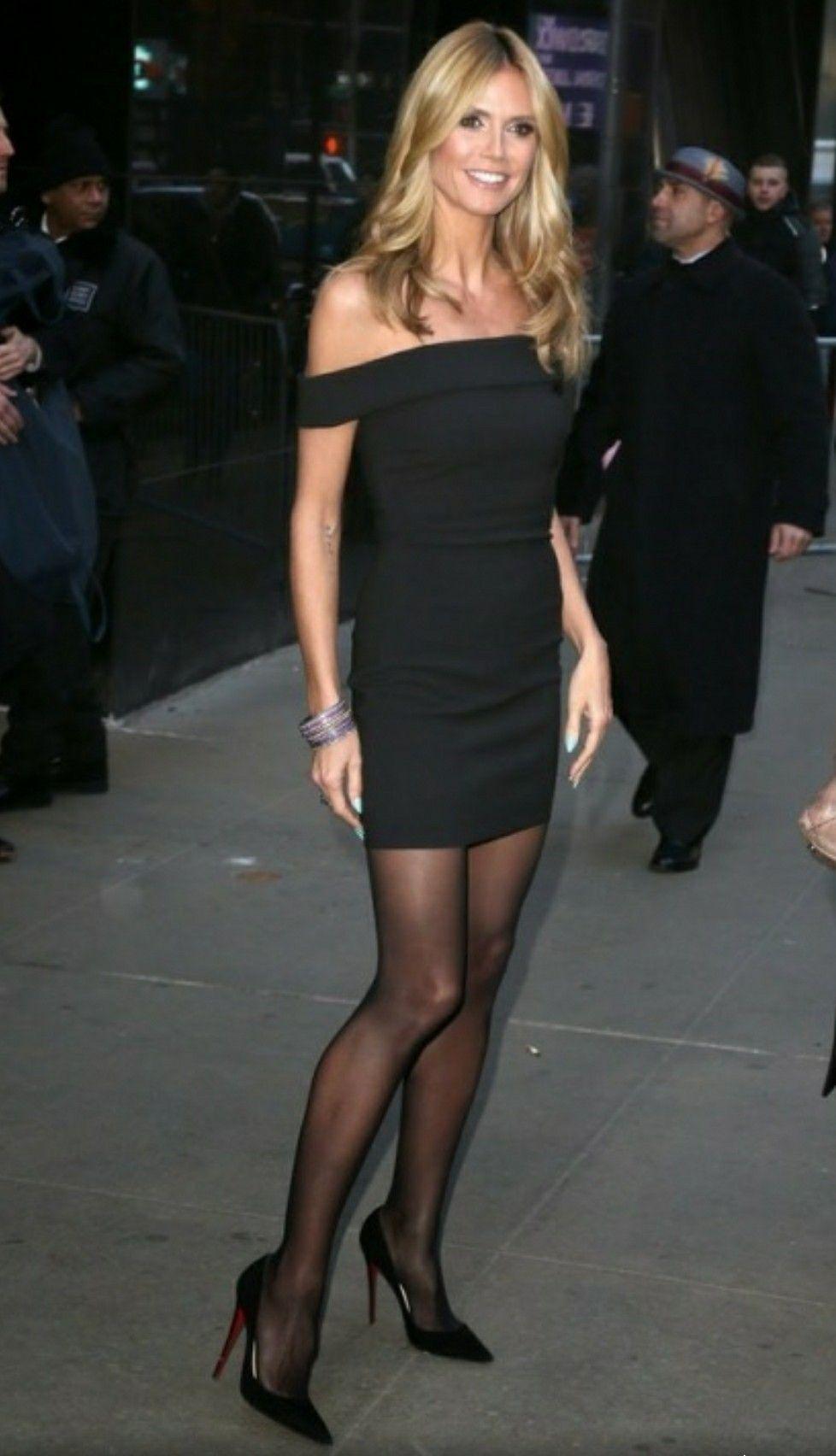4ad6cb0f56d Heidi Klum sexy black dress with sheer black pantyhose and heels ...