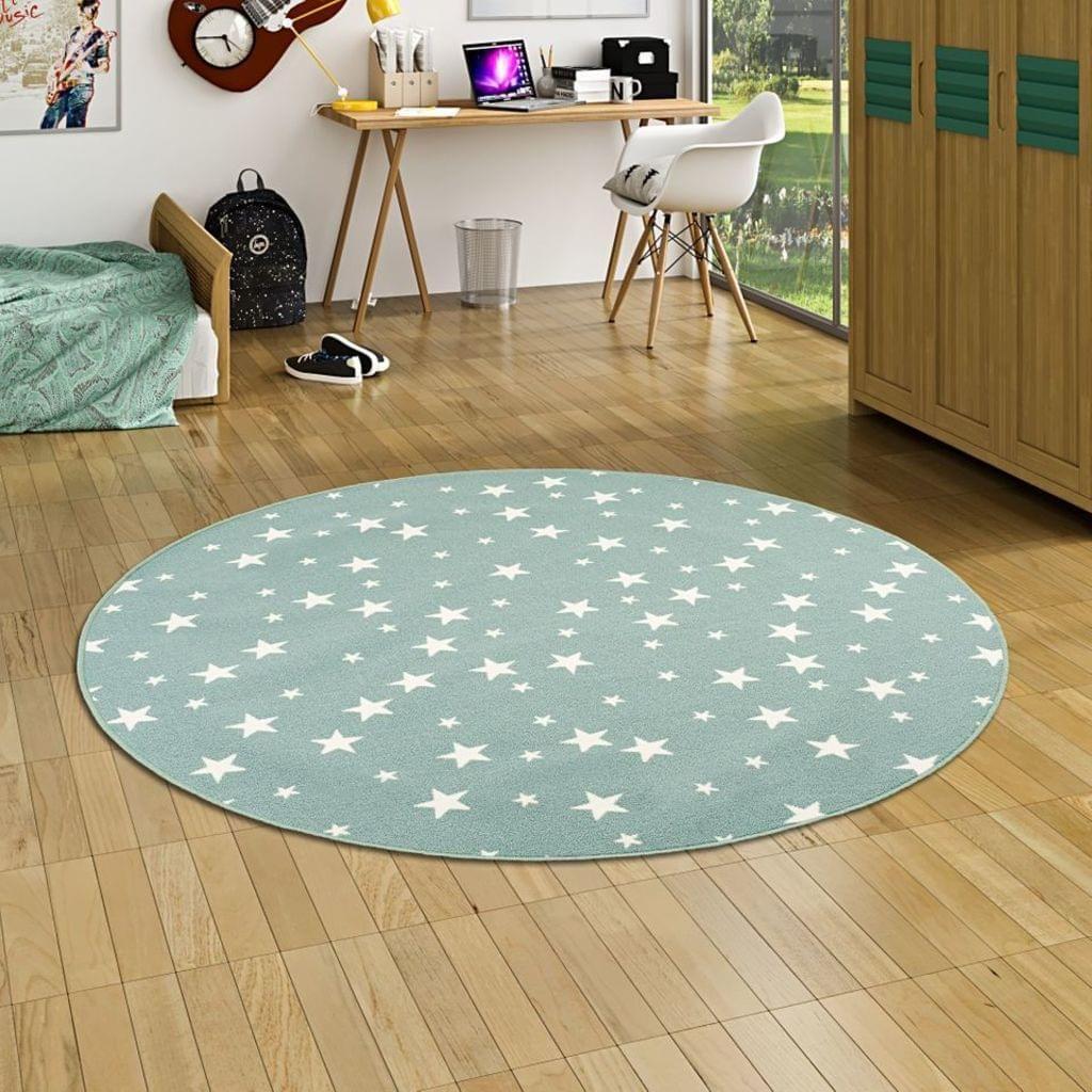 Kinder Spiel Teppich Sterne Mintgrün Rund, Größe:160 cm Rund