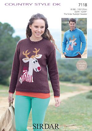 Sirdar Country Style Dk Reindeer Sweater 7118 Christmas Knitting
