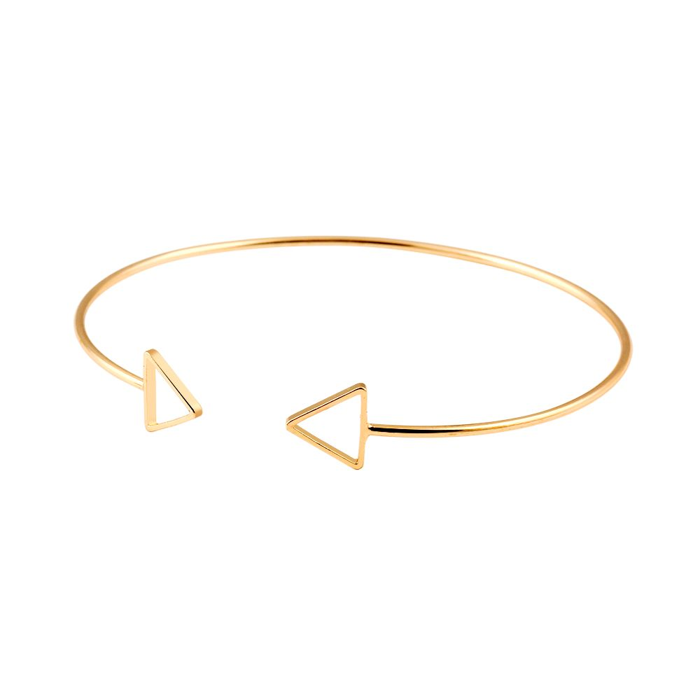 trendy geometric double triangle bangle alloy plated gold
