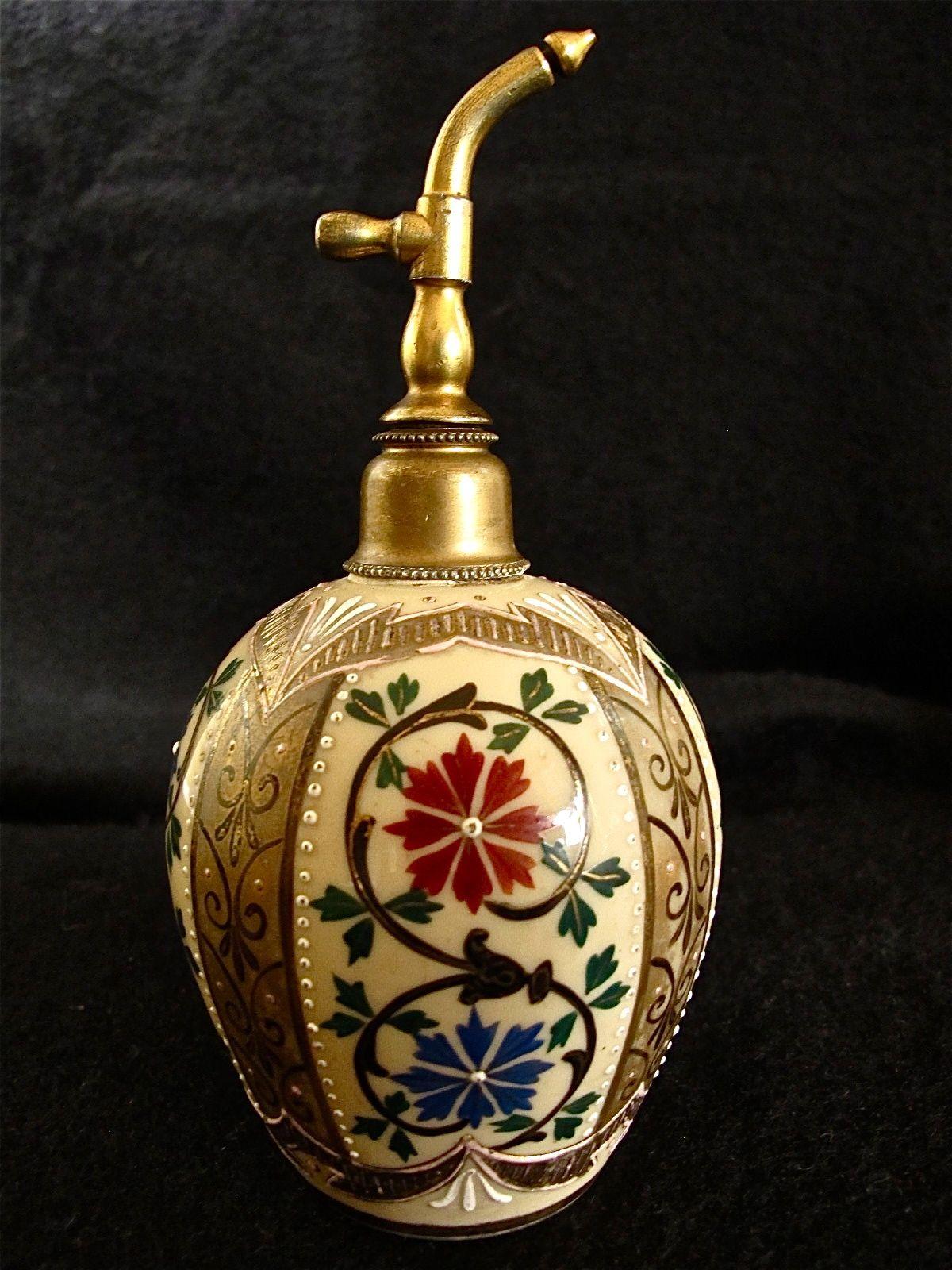 Antique Bohemian Czech Hand Blown Enameled Opaline Art Glass Perfume Atomizer | eBay