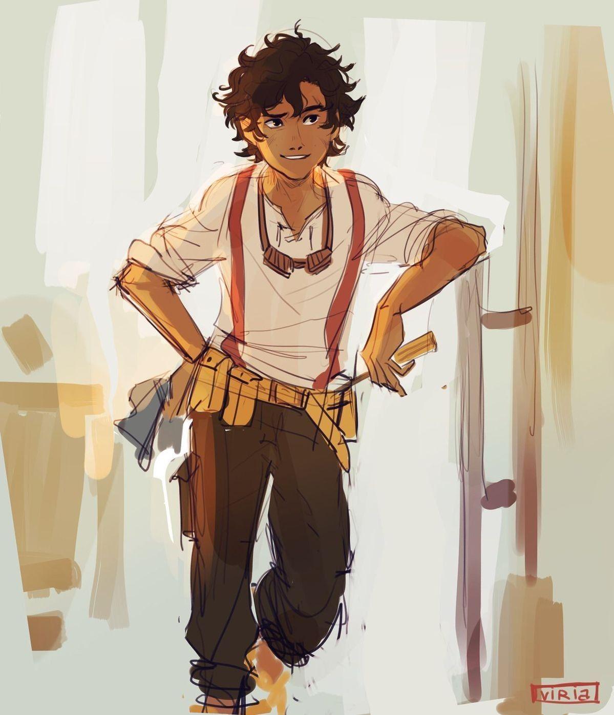 Heroes of Olympus Fanart, Leo Valdez Fanart, Art by #Viria13 on Twitter, # Leo #LeoValdez | Percy jackson art, Percy jackson characters, Percy jackson