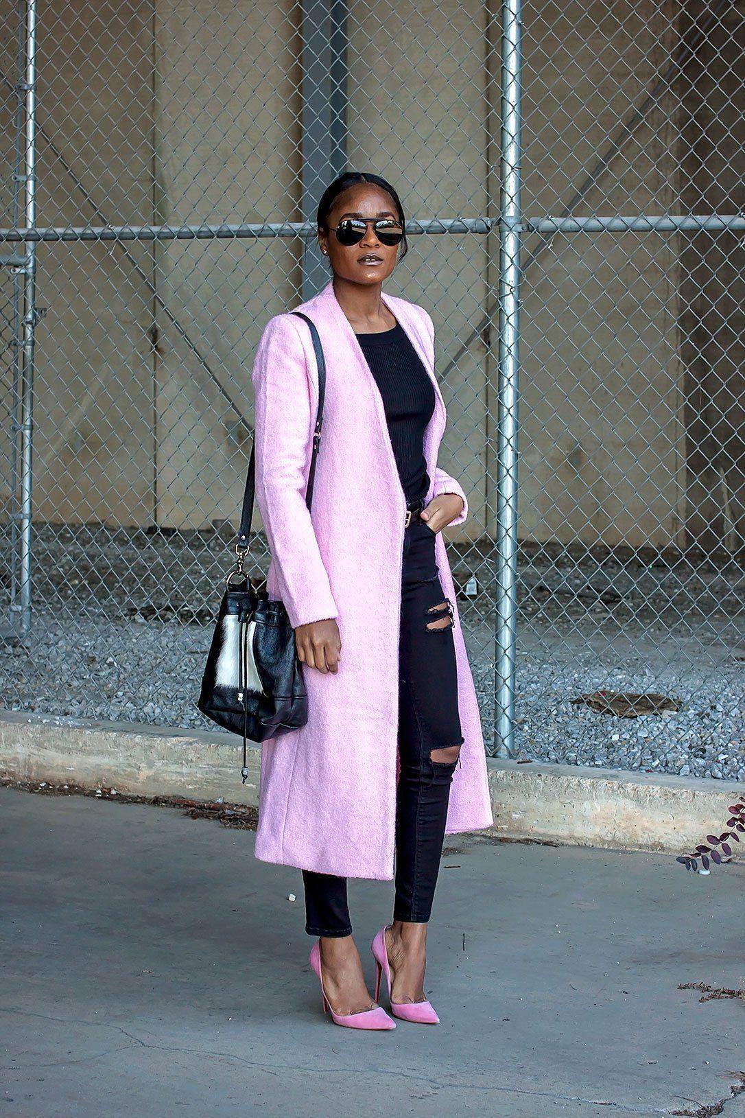 Pink, black & the Love,Cortnie 'KeKe' Bucket bag in calf hair & leather. (via The Daileigh)