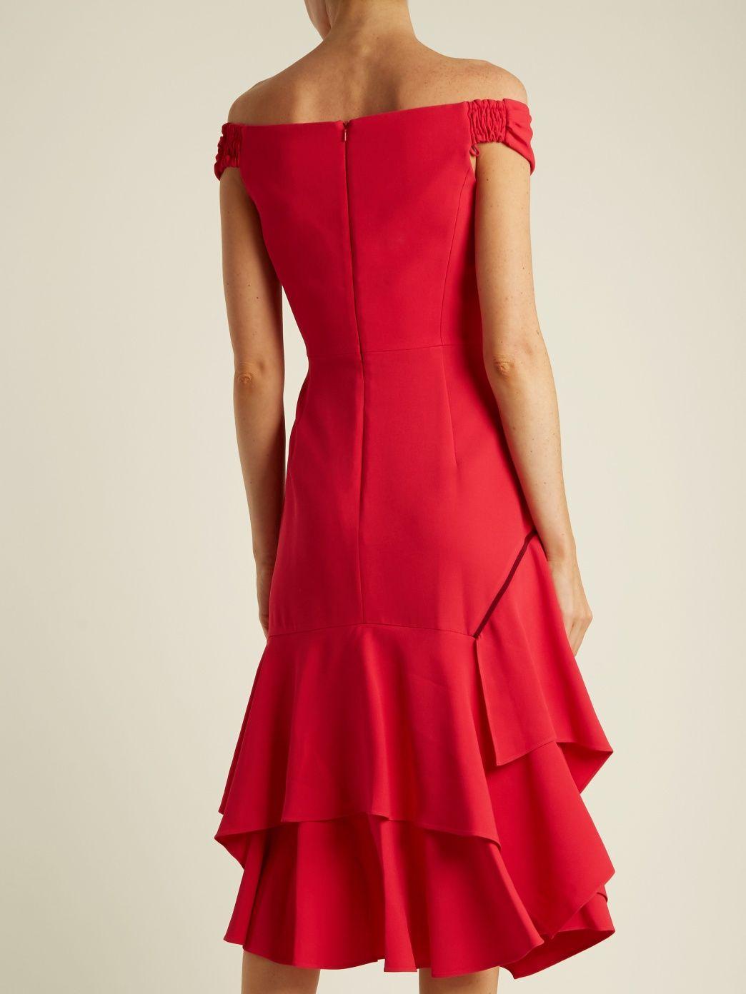 Off-the-shoulder handkerchief-hem cady dress | Peter Pilotto | MATCHESFASHION.COM