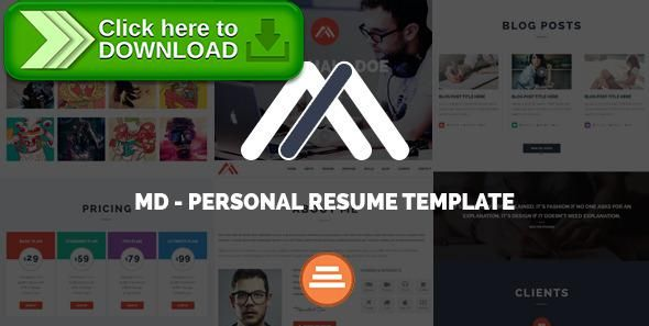 Free Nulled Md  Responsive Personal Resume  Portfolio Template