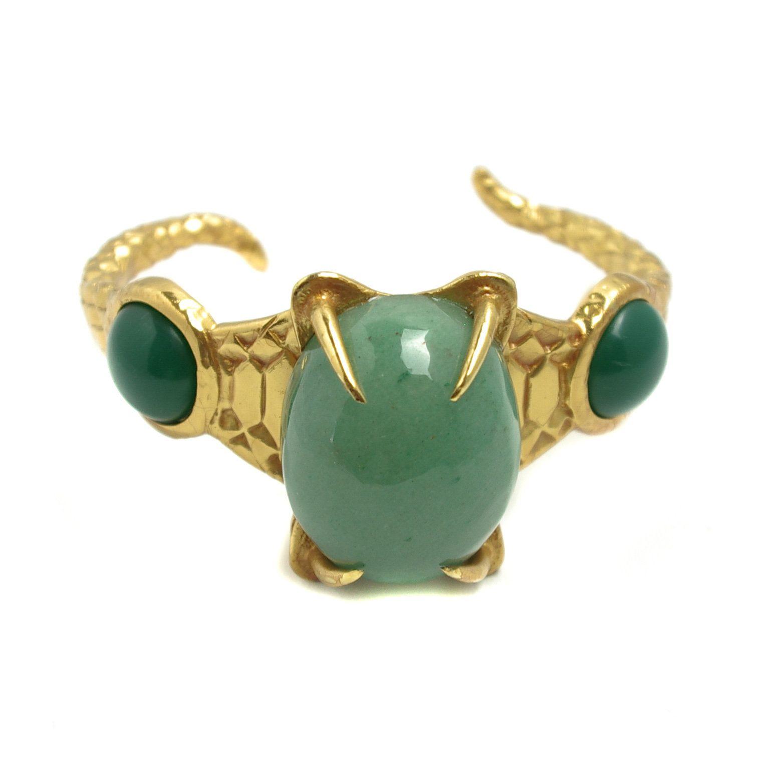 8cdbad35d96 Vintage YVES SAINT LAURENT Green Aventurine Quartz, Chyrsoprase and Gold  Plate Heavy Snake Fang Cuff Bracelet by TheGemmary on Etsy