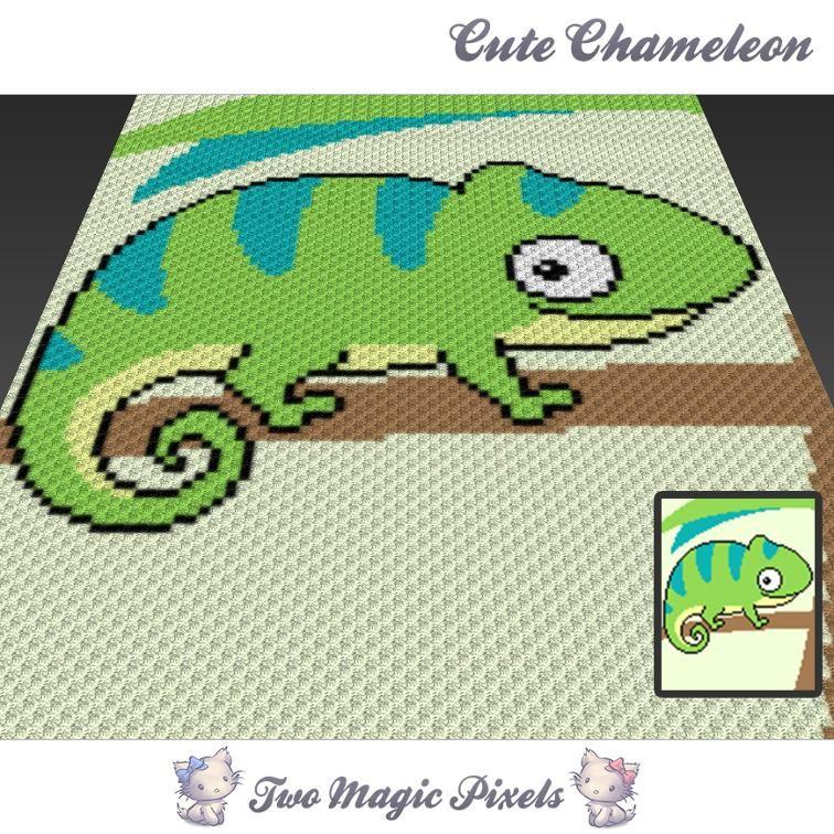 Cute Chameleon C2C Crochet Graph   Decken