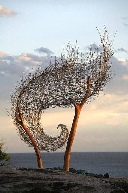 Bronwyn Berman beach weaving ...the wave ...land art installation great texture ,shape and use of natural materials                                                                                                                                                     More