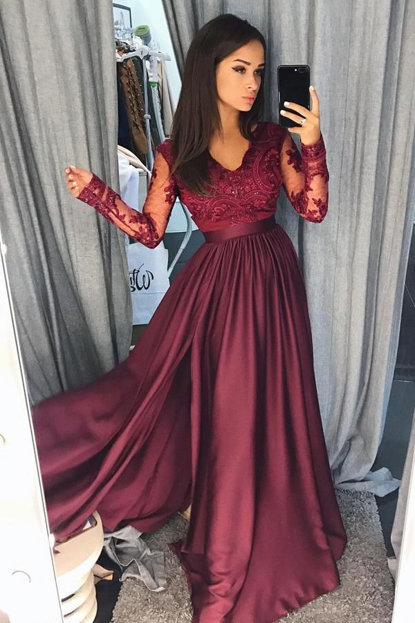 Burgundy A Line Brush Train V Neck Long Sleeve Lace Prom Dress 0e7450d24372