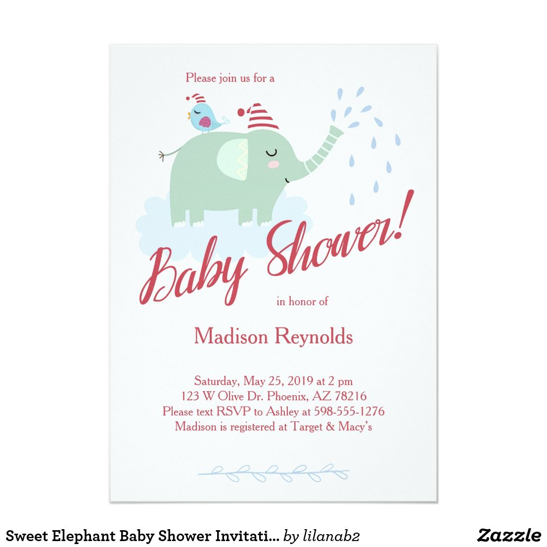 Sweet Elephant Baby Shower Invitation Elephant Illustration