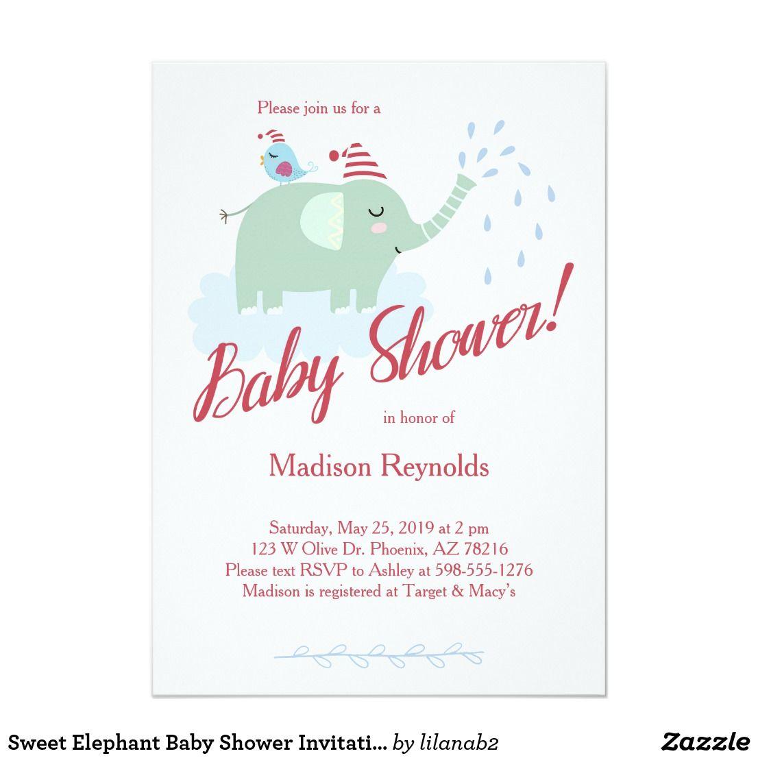 Sweet Elephant Baby Shower Invitation Elephant Baby Showers Baby