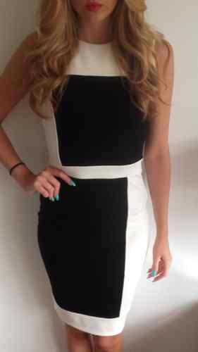 Ladies Womens Black AND White Block Pencil Dress