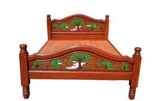 Modern King Queen Size Carving Teak Wood Platform Bed