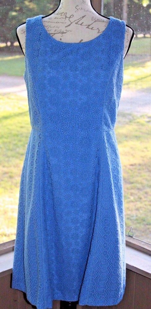 322d1fe471f TALBOTS Cornflower Blue Daisy Eyelet Lace Fit   Flare Dress Size 6 Wedding  - AF  Talbots  FitFlare  Cocktail