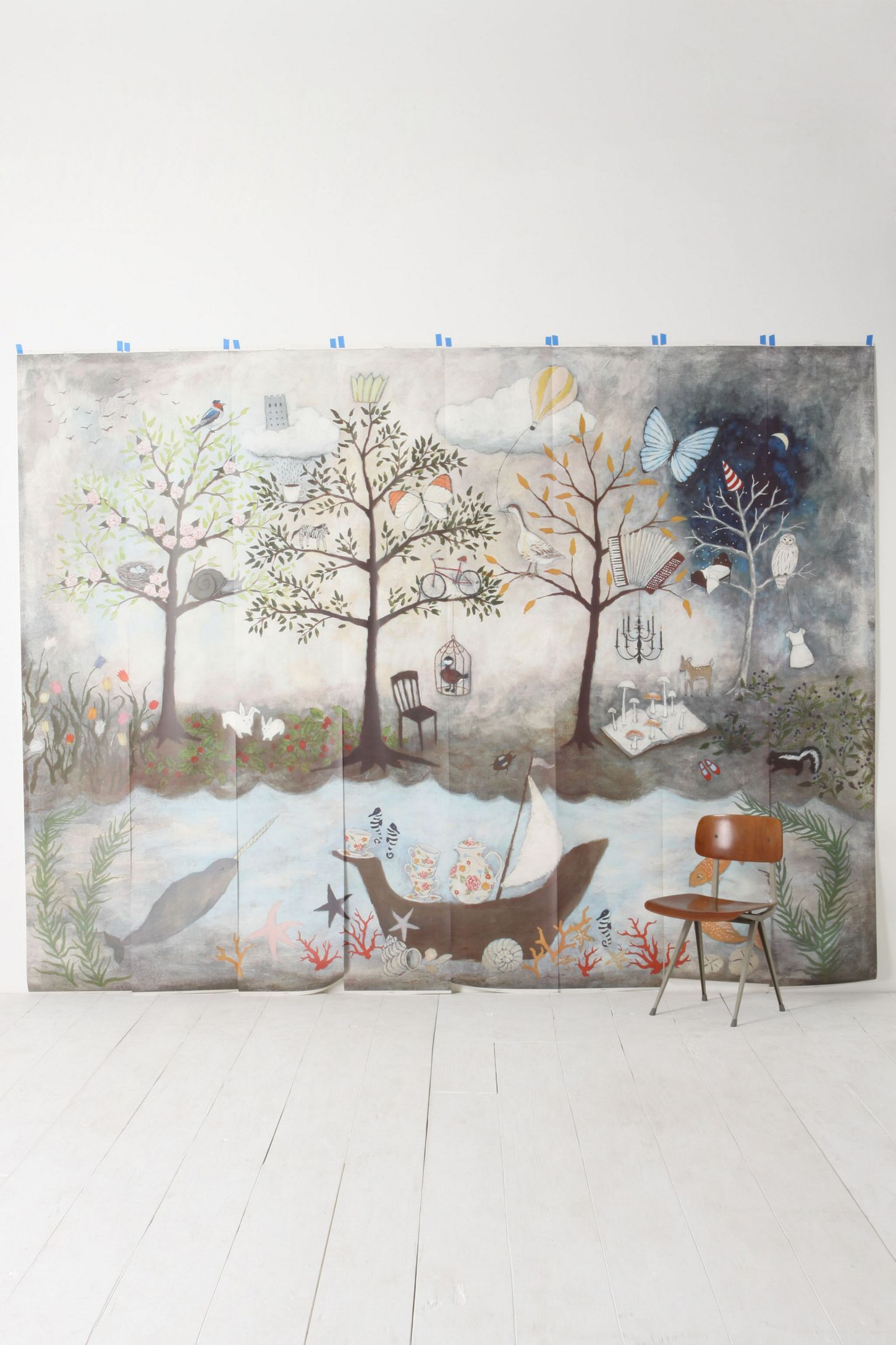 Enchanted Forest Mural Forest mural, Home wallpaper