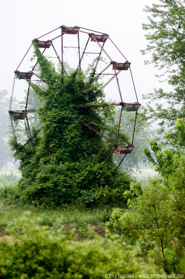 An abandoned ferris wheel