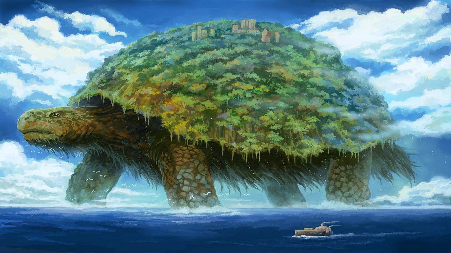 Giant Turtle Island Fantasy Art