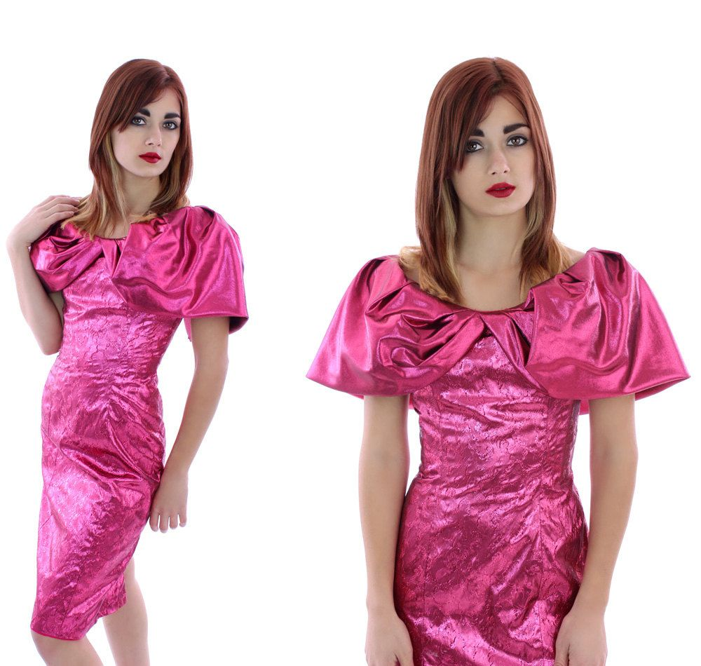 80s Prom Dress Lame\' Formal Party Vintage 90s Metallic Hot Pink ...
