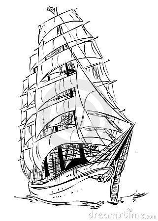 Old Sailing Ship Drawings Parusniki Risunok Korablya Risunki