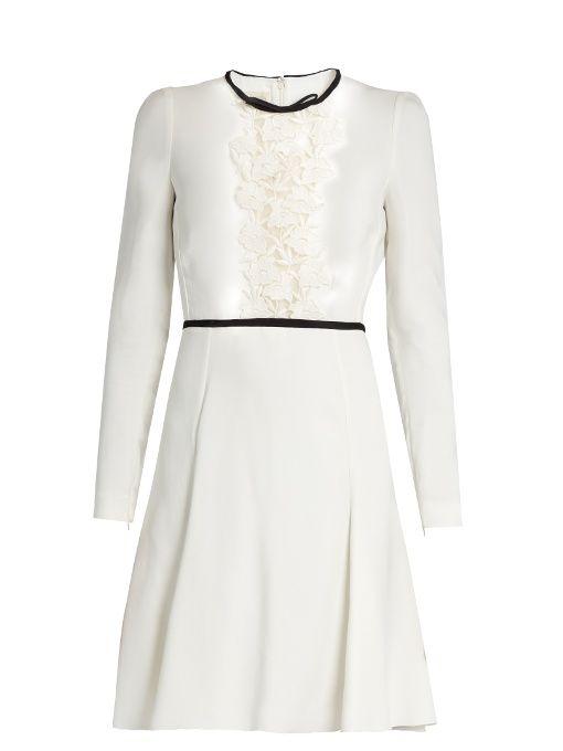 Giambattista Valli Lace Panelled Long Sleeved Cady Dress Giambattistavalli Cloth
