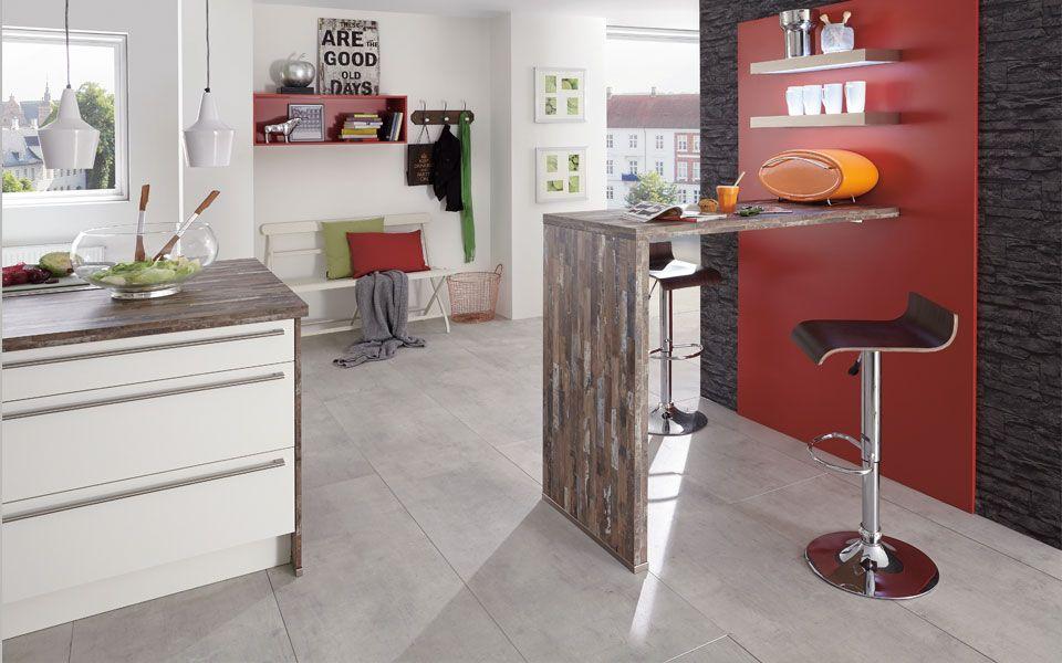 Küche mit Hochtisch Holzoptik Weiß Hochglanz - KücheCo Wohnen - Küchen Weiß Hochglanz