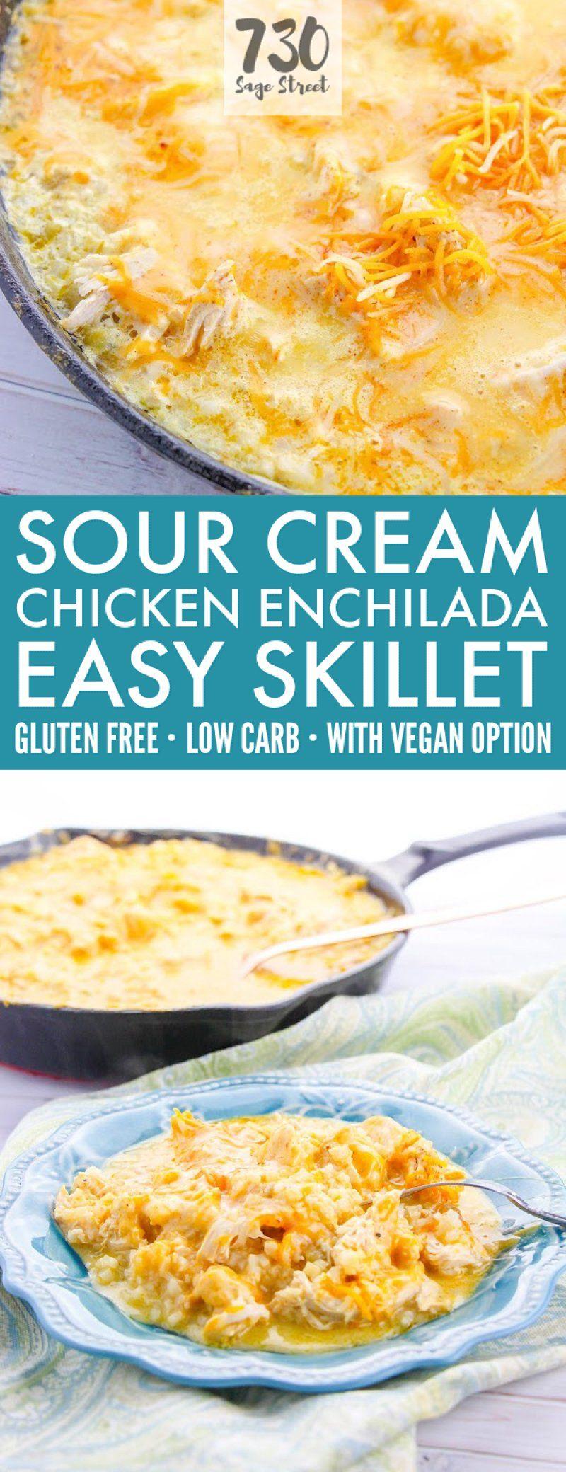 This Cheesy Low Carb Sour Cream Chicken Enchiladas Recipe Is A Delicious Easy Keto Mexican Dinn Sour Cream Chicken Sour Cream Chicken Enchilada Recipe Recipes