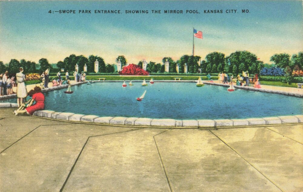 1920s Postcard of The Mirror Pool Swope Park Entrance