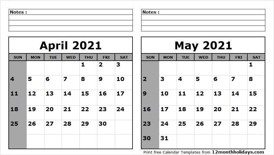April May 2021 Calendar Printable 2020 Calendar Template Calendar Template Calendar Printables