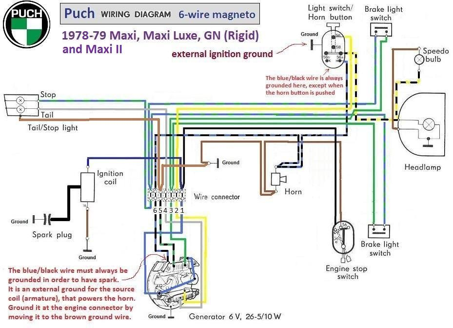1972 Triumph Bonneville Wiring Diagram 2 Way Light Switch Multiple Lights Puch Moped 1978 79 6 Wire Magneto Chrome Switches
