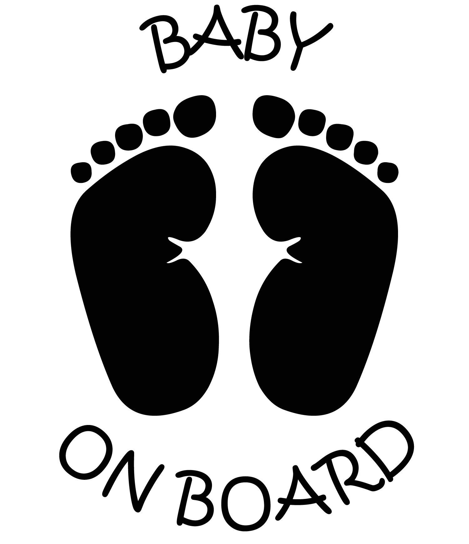 Baby on board feet Foot prints Car Sticker Decal Graphic Vinyl Label  Black