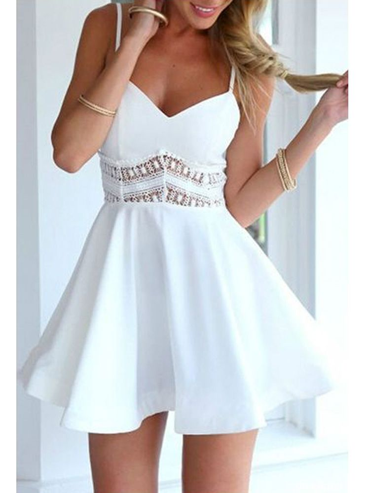 9c7cf02c58b40 Cute A Line V Neck Spaghetti Straps White Short Homecoming Dresses with Lace,  Short Prom Dresses | Dressmeet.com
