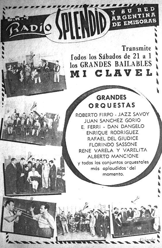 Publicidad de programación. Radio SPLENDID, Buenos Aires, 1950.