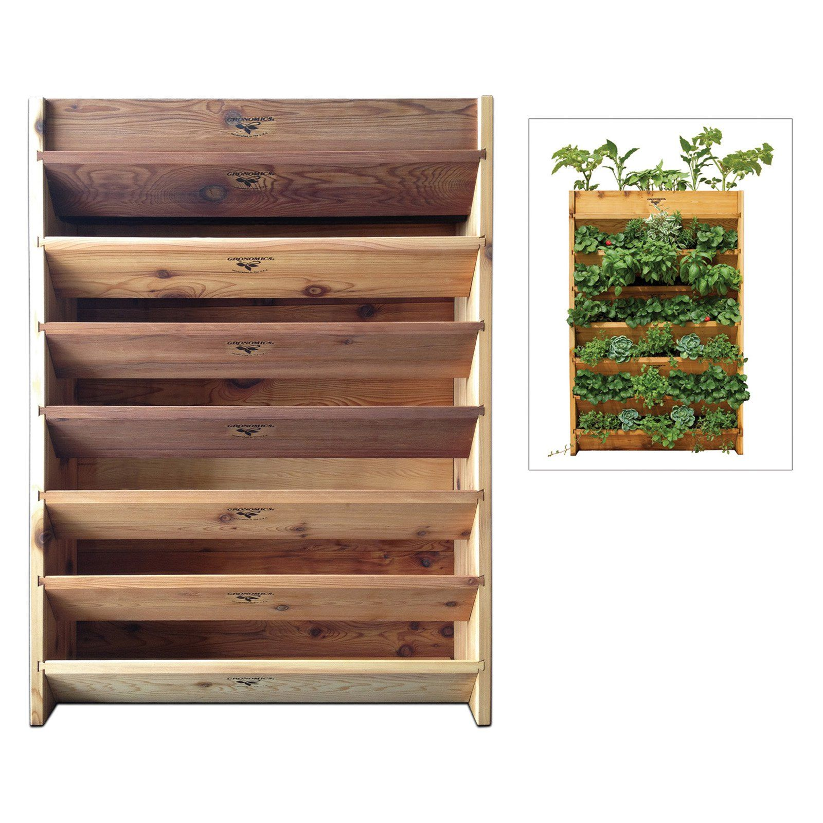 Gronomics Vertical Garden Planter   Crafted From Western Red Cedar, The  Gronomics Vertical Garden Has