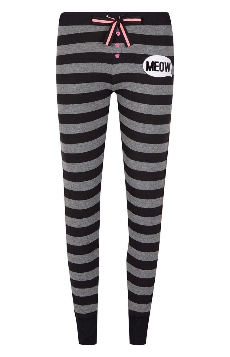 Primark - Pantalón de pijama a rayas grises «Meow»  577e3ea9456