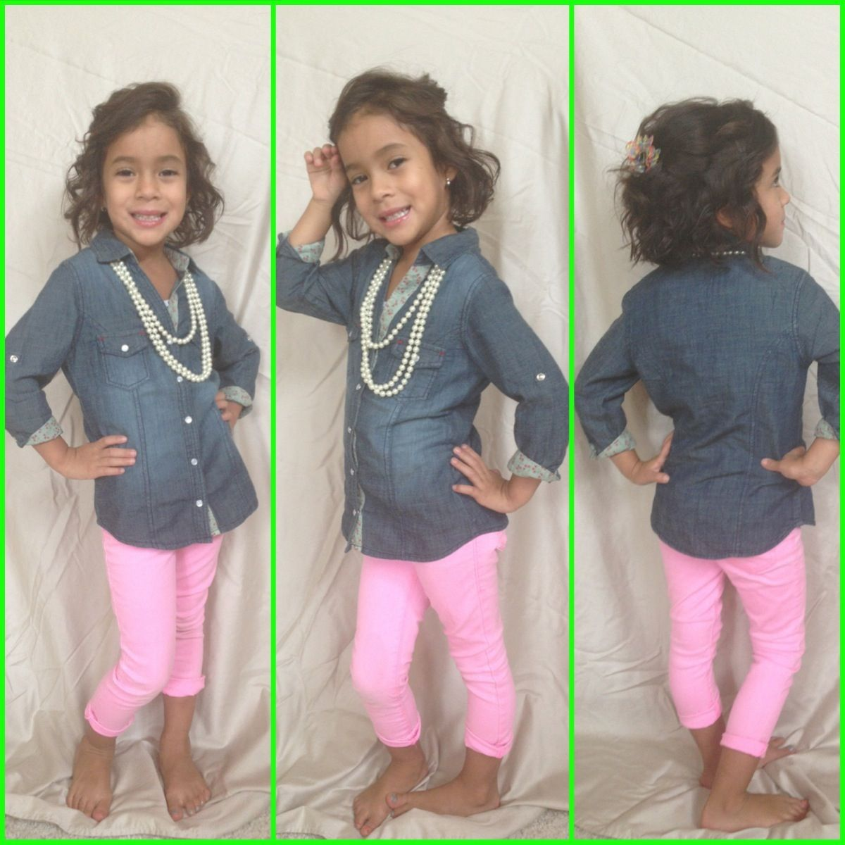kindergarten girl side Kindergarten fashion, denim, pink jeans, curly hair, and pearls. Too cute