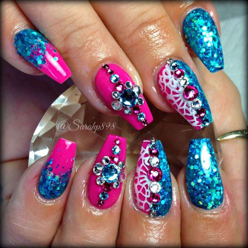 Hot Pink Coffin Nails Pink Sparkly Nails Pink Bling Nails Crazy Nail Designs