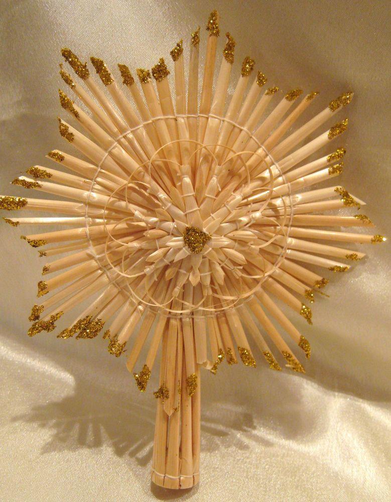 Strohstern christbaumschmuck christbaumspitze mit goldglimmer weihnachten - Christbaumspitze basteln ...