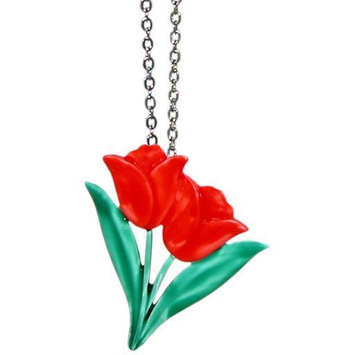 "1 1/4"" Vintage Enameled Tulips Pendant on 18"" Chain, Signed JJ, USA!"