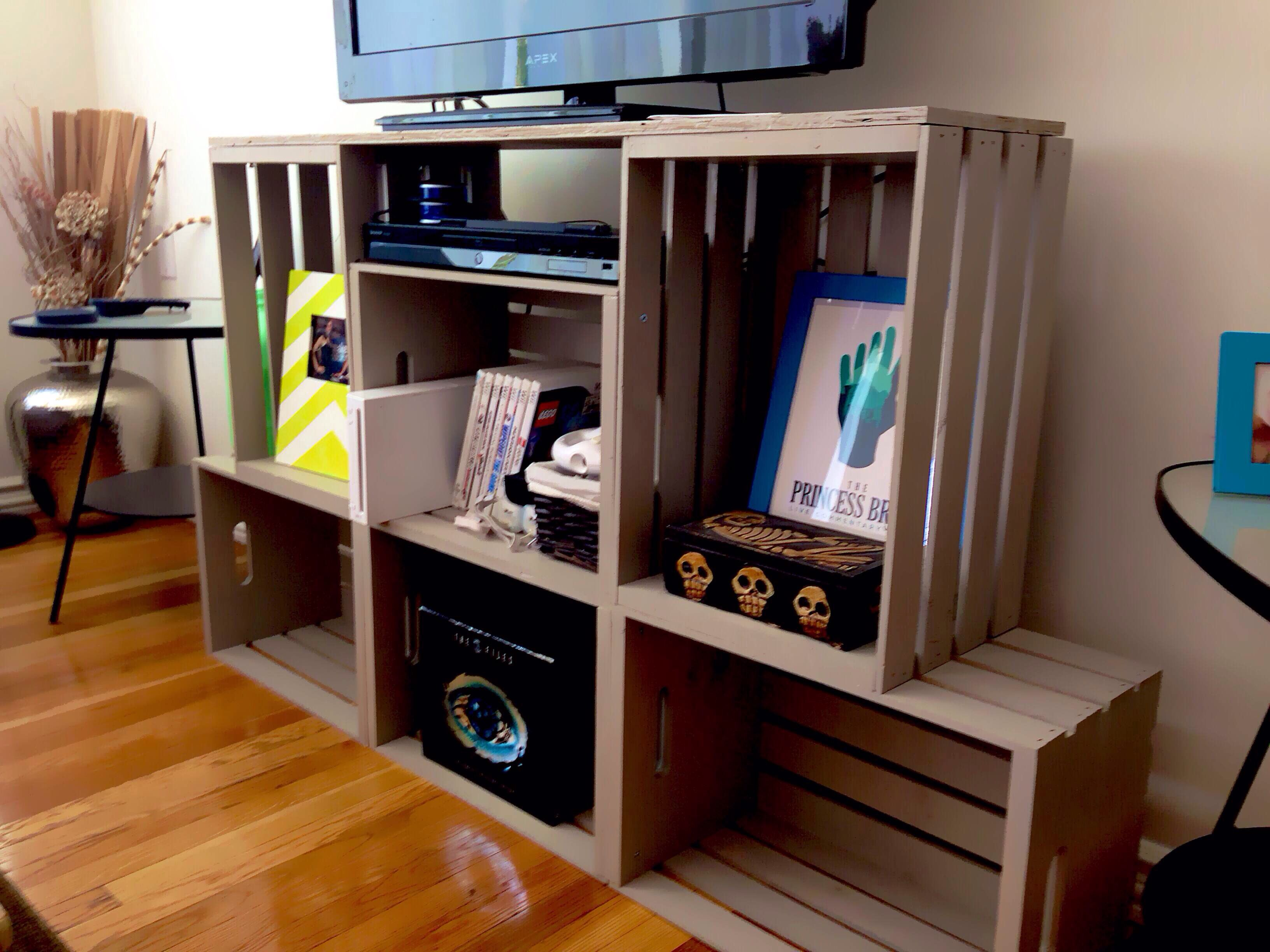 Diy Crate Entertainment Center 6 Wooden Crates Arranged To Our