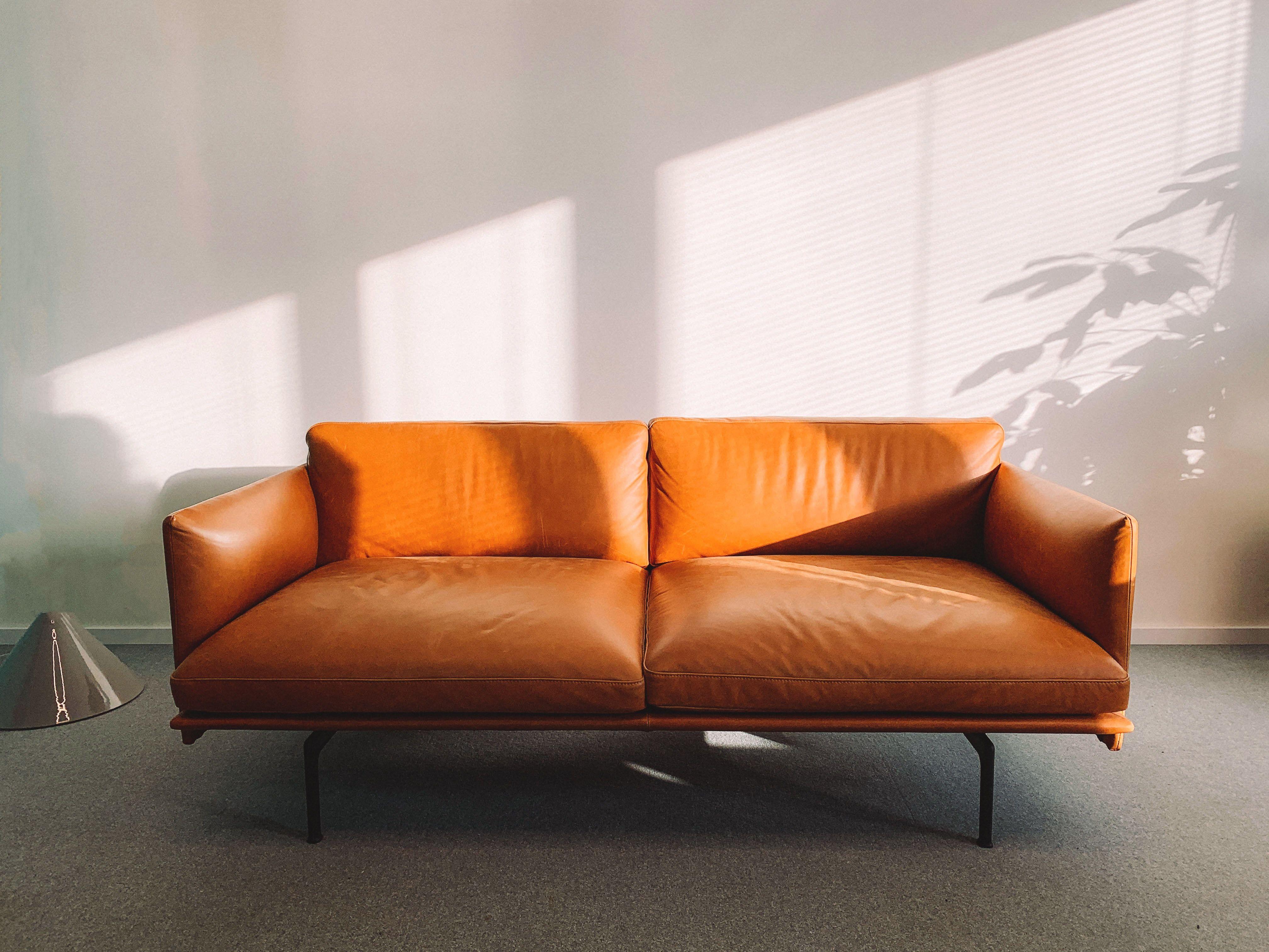 Splendido Contemporary Sofa Orange Leather Sofas Living Room Decor Modern Leather Sofa