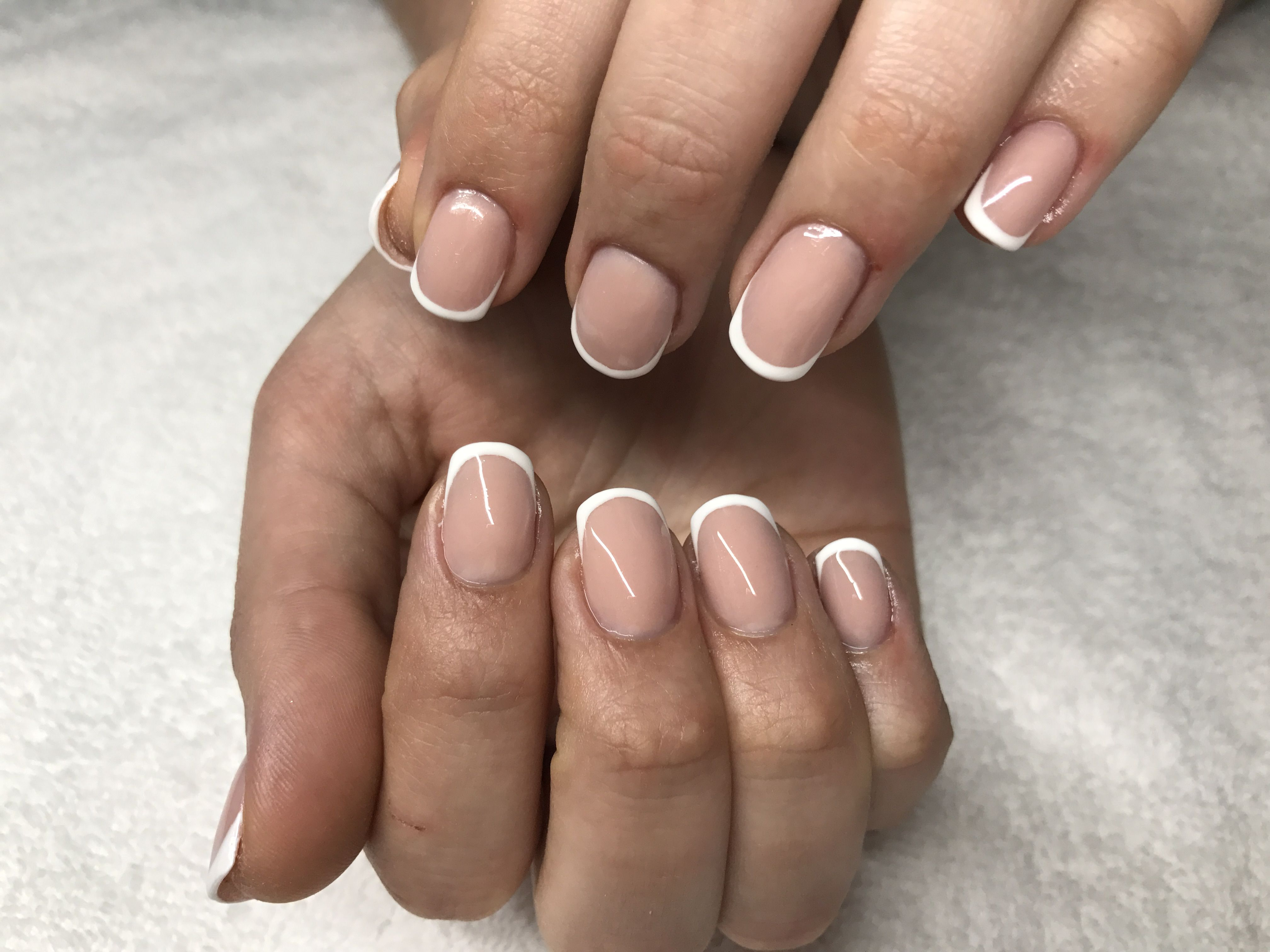 Acrylic infill and rebalance with classic white french tip on bitten ...