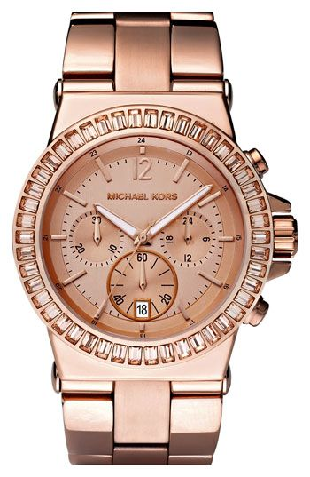 80b201b534fab Michael Kors Crystal Bezel Chronograph Watch in Rose Gold