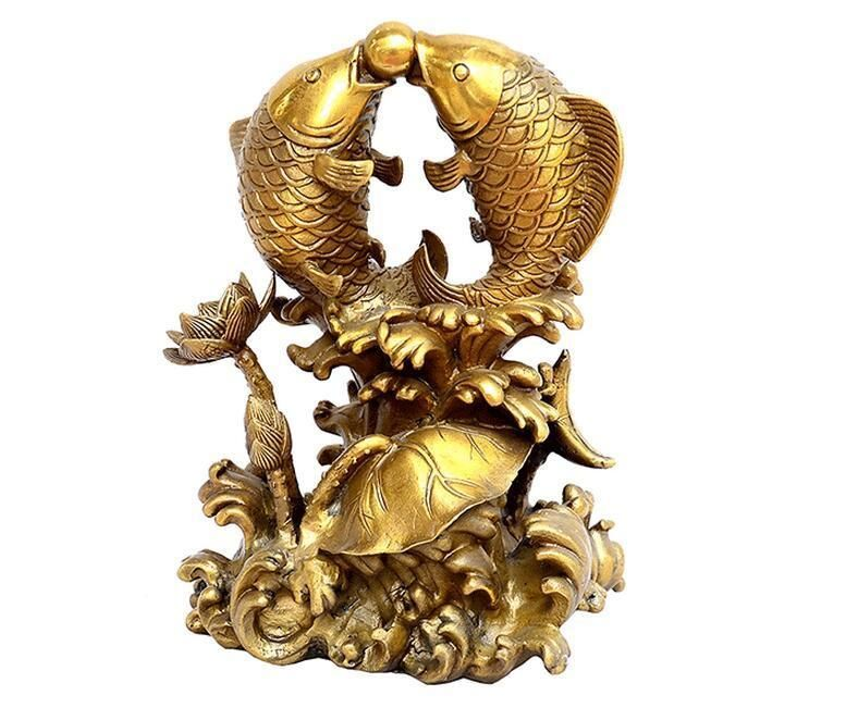 Chinese 6 Goldfish Lotus Flower Wealth Money Statue