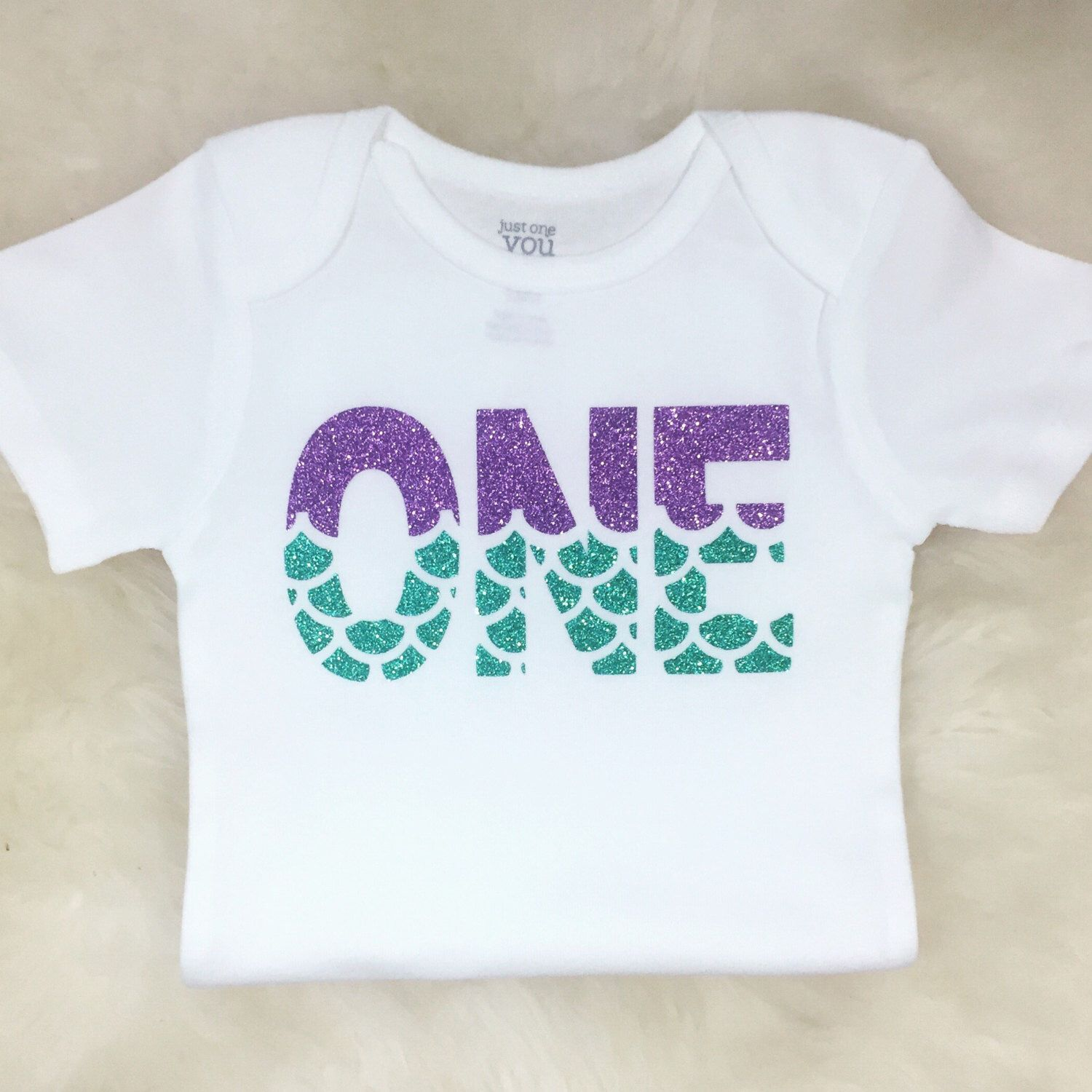 First Birthday Shirt Mermaid 1st One Little Under The Sea Sparkly