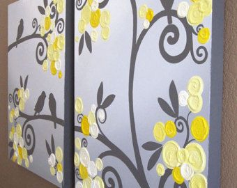 Wall Art Textured Yellow And Grey Abstract Flower Garden Two - Yellow bird wall decals