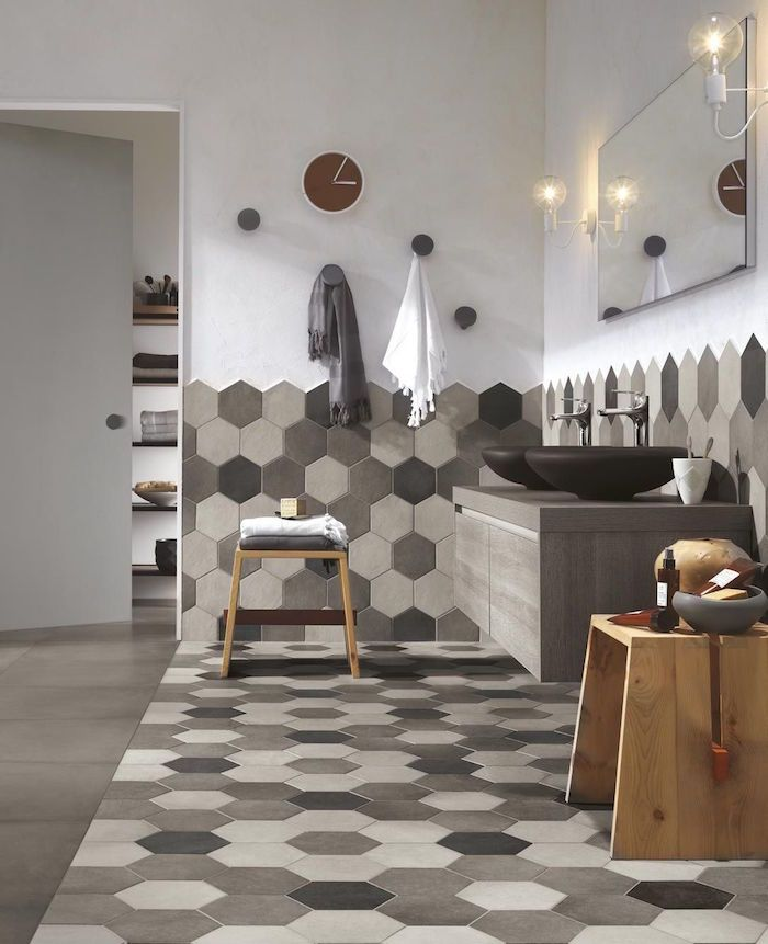 Salle de bain beige et gris u2013 pierre deviendra sable - couleur cuisine avec carrelage beige